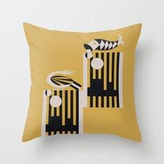 Art Deco Bird & Fish - Hemingway Throw Pillow