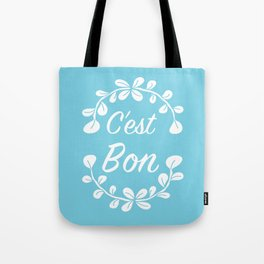 Inspirational Quote Illustrated Print French Saying in Blue Tote Bag