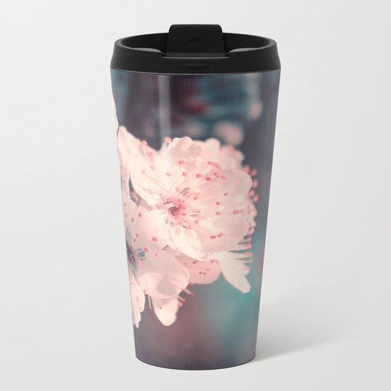 Delicate Strength (Spring White Cherry Blossom) Metal Travel Mug