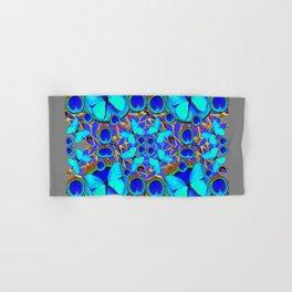 Abstract Decorative Aqua Blue Butterflies On Charcoal Grey Art Hand & Bath Towel