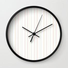 Modern geometrical pink coral green white stripes Wall Clock