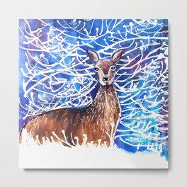 Deer in the Snow Metal Print