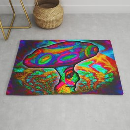 Shroomery #1 Psychedelic Colorful Mushroom Trippy Character Design Rug