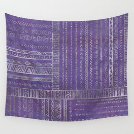 Tribal Ethnic pattern silver on  purple Wall Tapestry