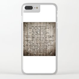 She was beautiful by F. Scott Fitzgerald #woodbackground #poem Clear iPhone Case
