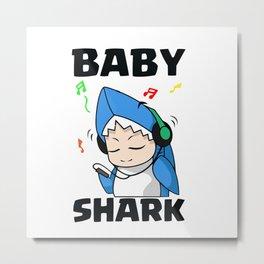 Baby Shark listening music Metal Print