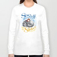 stiles Long Sleeve T-shirts featuring Sterek Sleepy Wolf & Stiles I by siny