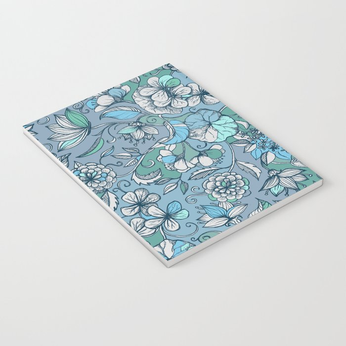 Hand drawn Floral in Blue, Grey & Mint Green Notebook