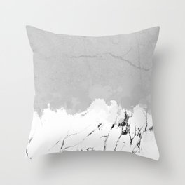White marble spill on concrete Throw Pillow