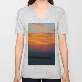 Sunset in Oia Santorini cv Unisex V-Neck