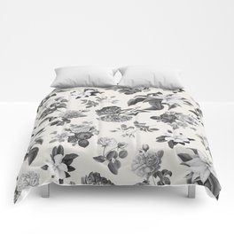 Vintage flowers on cream blackground Comforters