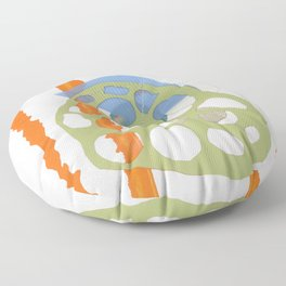 Direct Line II - collage in orange, green and blue Floor Pillow