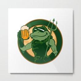 frog enjoy a glass of beer Metal Print