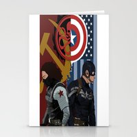 winter soldier Stationery Cards featuring Winter Soldier by Evan Tapper