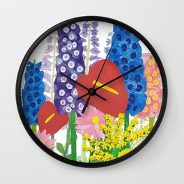 Delphiniums & Anthuriums Wall Clock