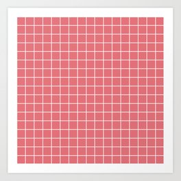 Candy pink - pink color - White Lines Grid Pattern Art Print