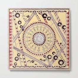 """""""Pillow Talk"""" Zentangle Art desgned for Floor Pillows (Browns)-center2 Metal Print"""