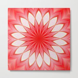 Star White And Red Kaleidoscope Floral Mandala Metal Print