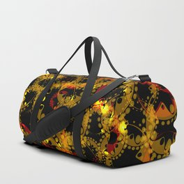abstract glowing pattern of gears and spheres in red gold on a black background for fabrics o Duffle Bag