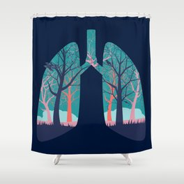 Human lungs with abstract forest inside illustration Shower Curtain