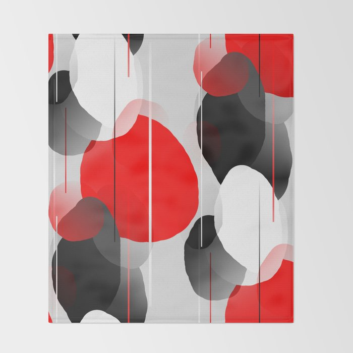 Modern Anxiety Abstract - Red, Black, Gray Throw Blanket