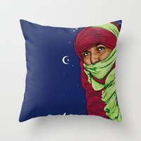 palestine Throw Pillows featuring SAHARA LIBRE by Thekrakenshirt
