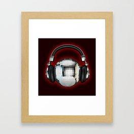 Headphone disco ball Framed Art Print