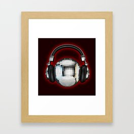 Headphone disco ball Framed Art Print