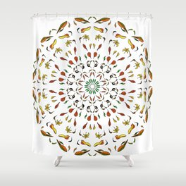 autumn leaves yellow brown red green mandala Shower Curtain