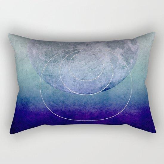 Blue Moon geometric circle mixed media Rectangular Pillow