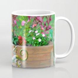 Flowers in a wooden flower bed Coffee Mug