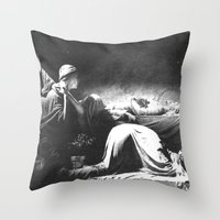 joy division Throw Pillows featuring Joy Division - Closer by NICEALB