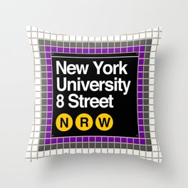 subway nyu sign Throw Pillow
