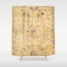 Craft Carpet Century Authentic Colorful Dull Yellow Golden Distressed Vintage Rug Pattern Shower Curtain