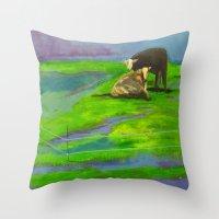 cows Throw Pillows featuring Cows by Ric Soens