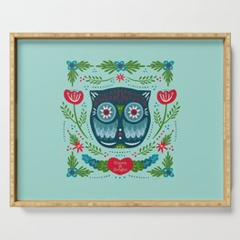 Merry & Bright Owl | Christmas Blue Serving Tray