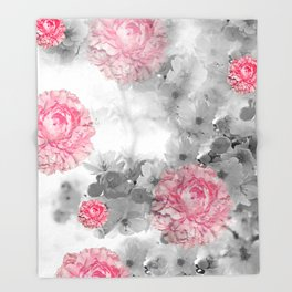 ROSES PINK WITH CHERRY BLOSSOMS Throw Blanket