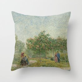 Vincent van Gogh - Garden with Courting Couples: Square Saint-Pierre (1887) Throw Pillow