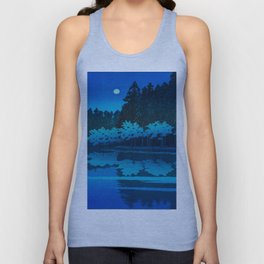 Vintage Japanese Woodblock Print Blue Forest At Night White Moonlight Mystical Trees Unisex Tank Top