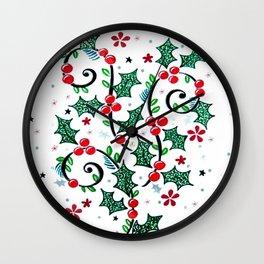 Christmas Curls Wall Clock