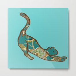 I love you Kitten in Blue-Green Metal Print