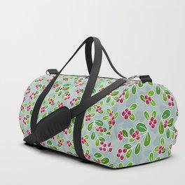 Cranberry Fruit Pattern on Blue-Grey Duffle Bag