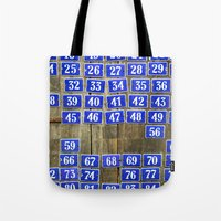 numbers Tote Bags featuring Numbers by Marieken