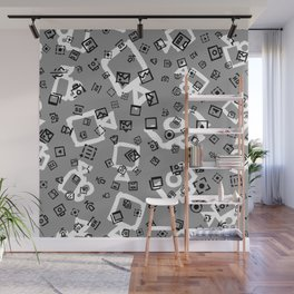 pattern with symbols of photos and videos Wall Mural