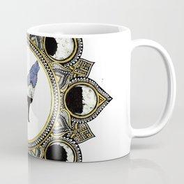 Double Exposure Wolf Howling at the Moon Mandala Coffee Mug