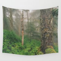 forrest Wall Tapestries featuring Foggy Forrest by Donovan Bennett Designs