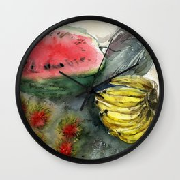 Tropical fruits Wall Clock