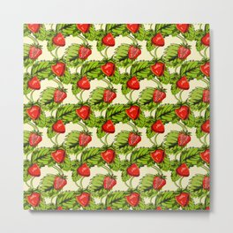 Strawberry Vegan Fruit Pattern Gift Metal Print