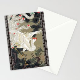 Jakuchu Phoenix with Hemp Pattern Background Stationery Cards