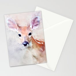 Deer Fawn Watercolour Animal Painting Artsy Watercolor Nursery Pink Stationery Cards